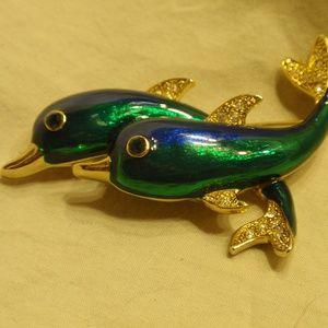 Jewelry - Beautiful Two Dolphin Brooch - Green & Blue